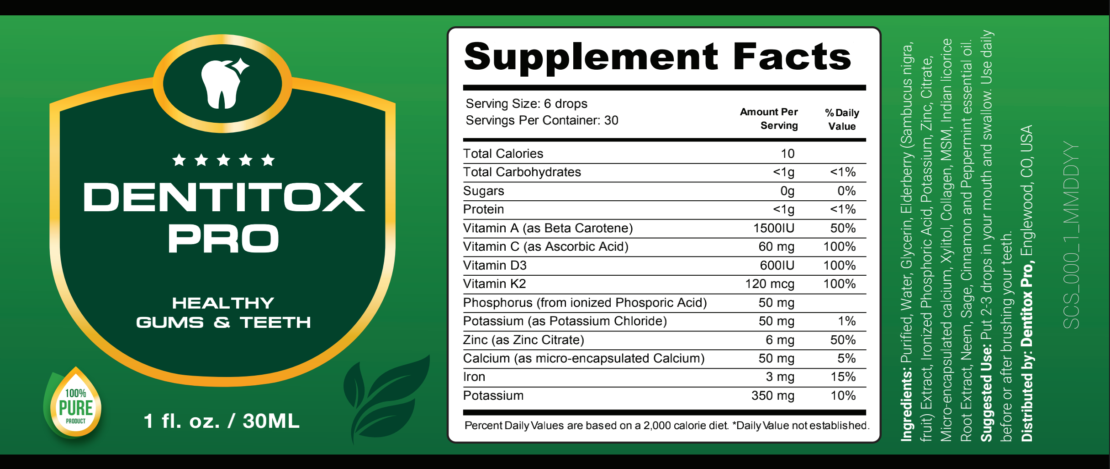 Dentitox Pro Drops Supplement Facts